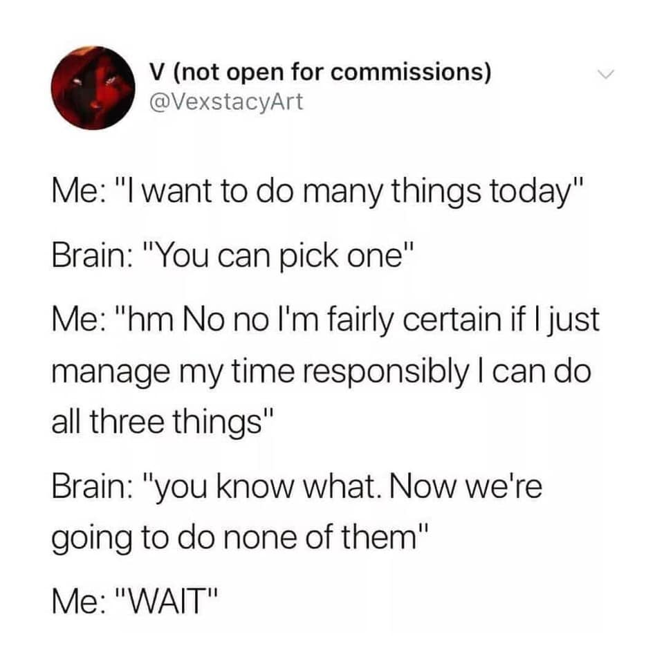 """Graphic of a tweet by V (not open for commissions) @VexstacyArt  Me: """"I want to do many things today"""" Brain: """"You can pick one"""" Me: """"hm No no I'm fairly certain if I just manage my time responsibly I can do all three thing"""" Brain: """"you know what. Now we're going to do none of them"""" Me: """"WAIT"""""""