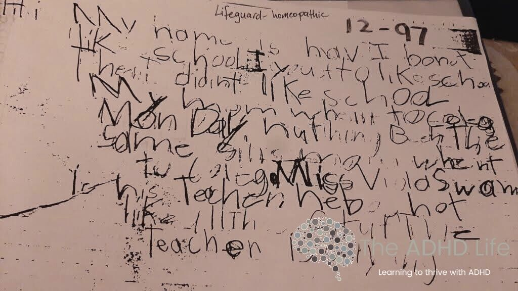 A writing sample that is nearly impossible to read. Words are blended together, illegible handwriting, no clear beginning, middle and end of the work.