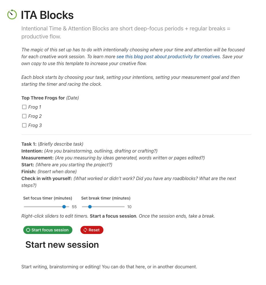 Screen shot of ITA block template
